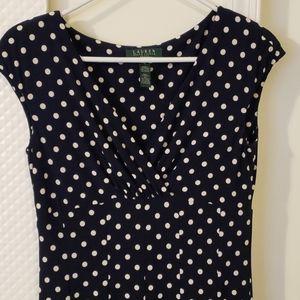 Ralph Lauren Navy Polka Dot Dress